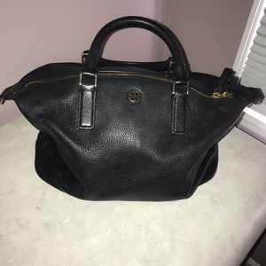 Tory Burch Leather Black Small Slouchy Satchel